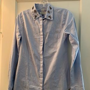 Chambray Button Down with Jeweled Collar